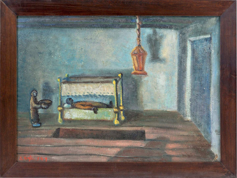 SR016_Samir Rafi, Lifes Tragedy, 1949, Oil on panel, 58.5 x 78 x 3 cm, Image courtesy of Barjeel Art Foundation