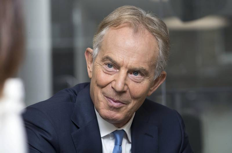 LONDON 19th October 2017. Former UK Prime Minister Tony Blair in his office in London as he is interviewed by Mina al-Oraibi, Editor in Chief of The National and London Bureau Chief Damien McElroy.  Stephen Lock for the National