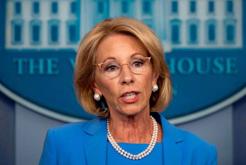 (FILES) In this file photo taken on March 27, 2020 US Secretary of Education Betsy Devos speaks during the daily briefing on the novel coronavirus, COVID-19, in the Brady Briefing Room at the White House in Washington, DC. US Education Secretary Betsy DeVos submit her resegnation on January 7, 2021 becoming the second member of President Donald Trump's cabinet to resign over the storming of the Capitol by his supporters. / AFP / JIM WATSON