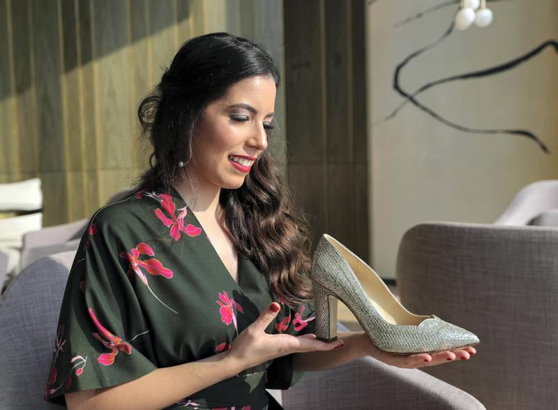 Dubai, United Arab Emirates - September 13th, 2017:  Shoe designer Silvia Lago and her shoes on exhibit. Wednesday, September 13th, 2017, FIVE Palm Jumeirah, Dubai. Chris Whiteoak / The National
