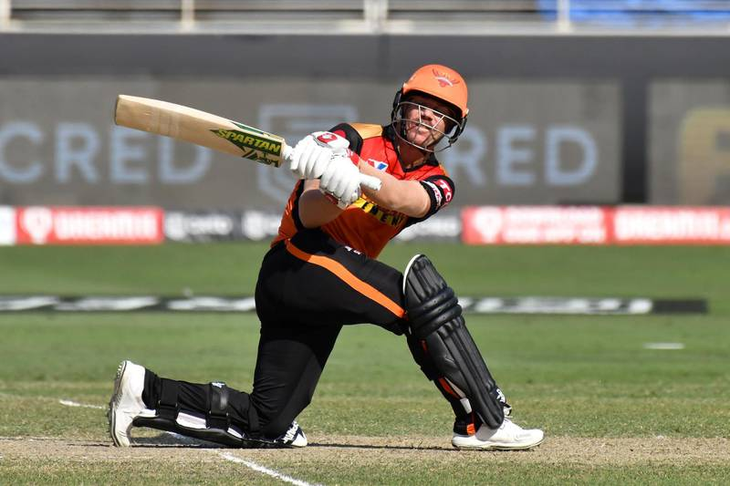 SRH captain David Warner in action during match 26 of season 13 of the Dream 11 Indian Premier League (IPL) between the Sunrisers Hyderabad and the Rajasthan Royals held at the Dubai International Cricket Stadium, Dubai in the United Arab Emirates on the 11th October 2020.  Photo by: Samuel Rajkumar  / Sportzpics for BCCI