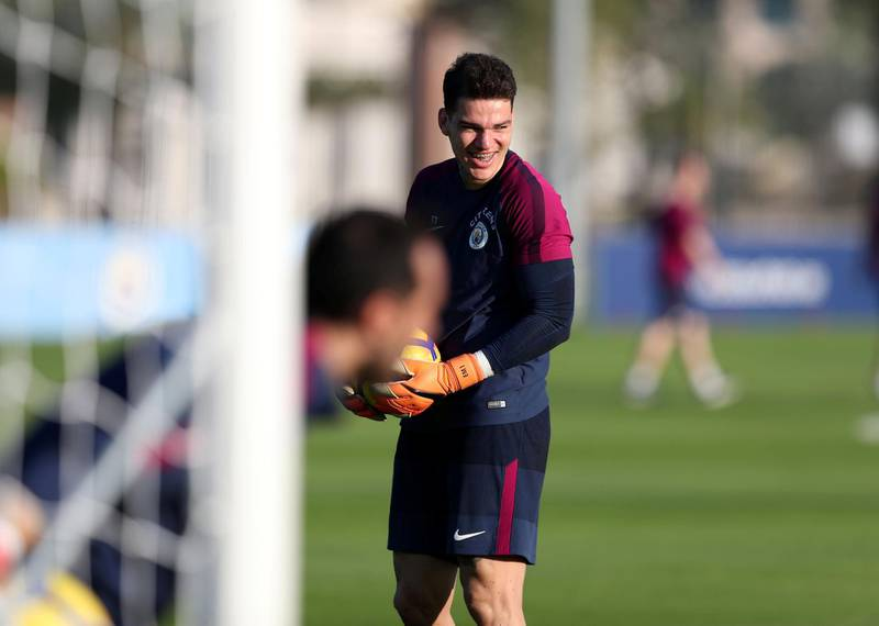 Abu Dhabi, United Arab Emirates - March 15th, 2018: Ederson of Manchester City during a training session in Abu Dhabi. Thursday, March 15th, 2018. Emirates Palace, Abu Dhabi. Chris Whiteoak / The National