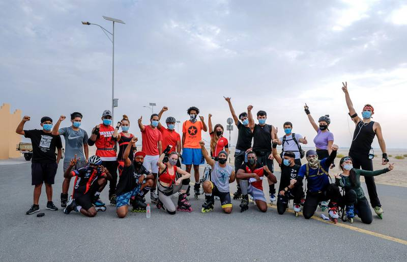 Abu Dhabi, United Arab Emirates, August 21, 2020.   The Madrollers skating group at the Al Wathba Bicycle Track do a  8 km. fun sprint.  The skating group has members from Dubai and Abu Dhabi.  They encourage safety and discipline on roller-skates, skateboard, long-board and bicycles.Victor Besa /The NationalSection:  Photo ProjectReporter: