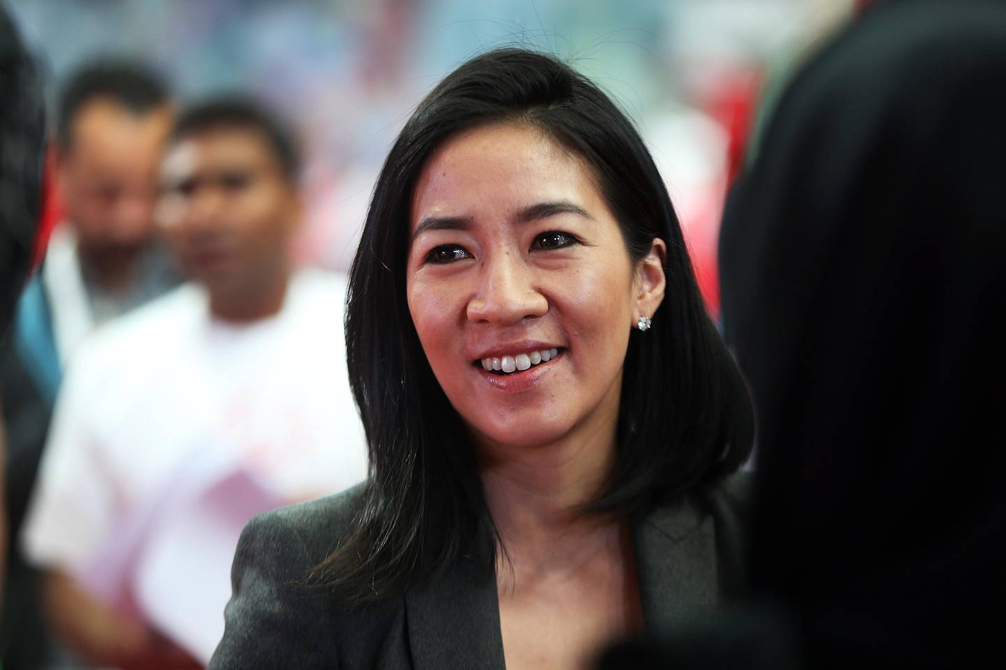 ABU DHABI, UNITED ARAB EMIRATES - - -  24 January 2017 --- Former figure skater Michelle Kwan, elected to the Board of Directors of Special Olympics International, was at the press conference that was held on Tuesday, January 24, 2017, at the IPIC Arena to announce the plans for the Special Olympics World Games, which Abu Dhabi will host in 2019.    (  DELORES JOHNSON / The National  )   ID: 28498 Reporter:  Melanie Swann Section: NA *** Local Caption ***  DJ-240117-NA-Special Olympics-28498-018.jpg