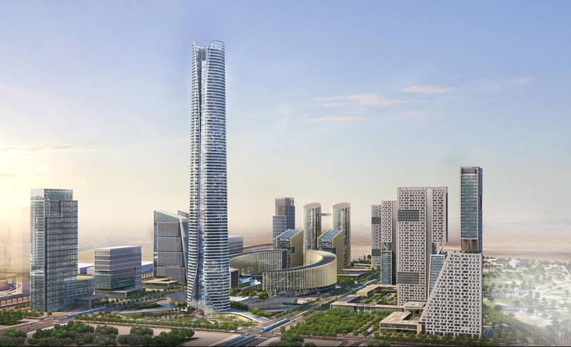 A rendering of Iconic Tower. The Capital Business District (CBD) being built in Cairo's New Administrative Capital. The 20 skyscrapers in the district include the 385-metre Iconic Tower, which will be the tallest building in Africa. Photo: Dar Al-Handasah