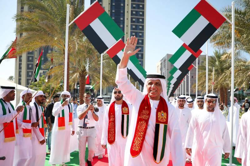Ras Al Khaimah ruler Sheikh Saud bin Saqr Al Qasimi raises flag in Al Qawasim Corniche. Wam