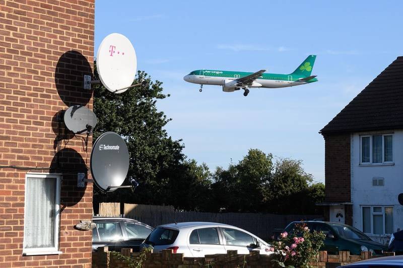 LONDON, ENGLAND - SEPTEMBER 13: An Air Lingus passenger plane comes into land at Heathrow Airport on September 13, 2019 in London, England. Climate change protesters planned to disrupt the airport through a number of actions involving illegal drone flights but appear to have been stopped through pre-emptive arrests by the police, and the possible use of jamming technology. (Photo by Leon Neal/Getty Images)