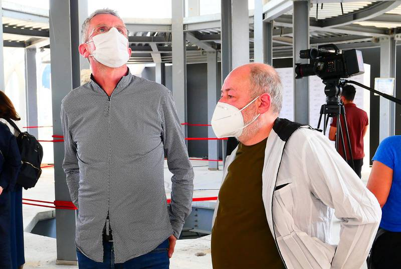 Carlo Ratti (left) and Italo Rita, co-designers of the Italian pavilion during the unveiling ceremony of David statue at the Italy pavilion at EXPO 2020 site in Dubai on April 27,2021.  (Pawan Singh/The National) Story by Ramola
