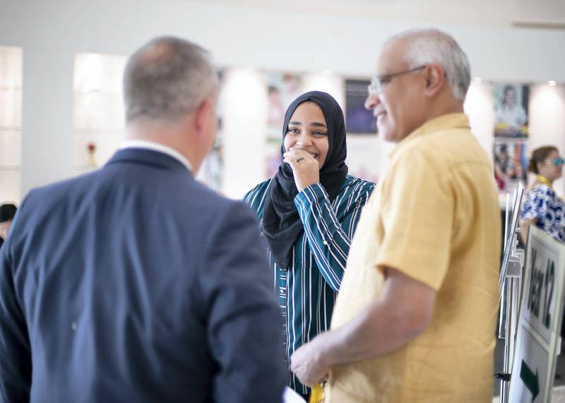 DUBAI, UNITED ARAB EMIRATES. 15 AUGUST 2019. Manal Riza Mohammed,18, receives her A-Level results, at Jumeirah College school.(Photo: Reem Mohammed/The National)Reporter:Section: