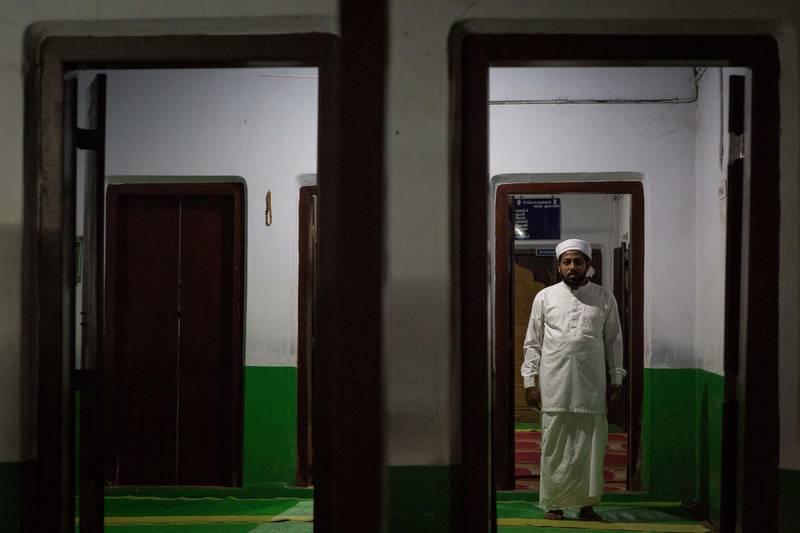 Portrait of Ibrahim Baqavi Omasserry, imam at Payurthottam Juma Masjid in Malappuram, Kerala, India. Photo by Sebastian Castelier
