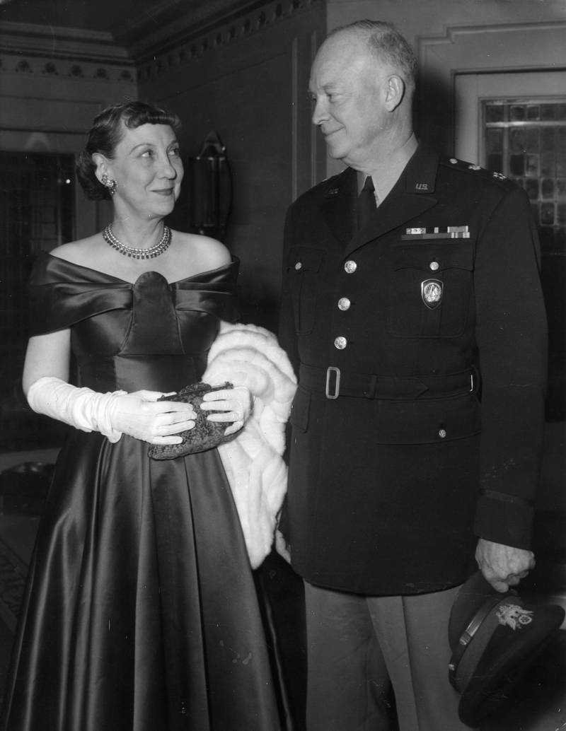 16th May 1957:  American General and statesman Dwight D Eisenhower (1890 - 1969), known as Ike, the 34th President of the United States of America, with his wife Mamie (1896 - 1979).  (Photo by L. Waldorf/Evening Standard/Getty Images)