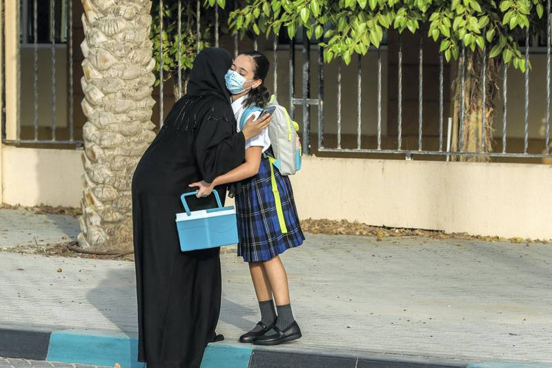 Abu Dhabi, United Arab Emirates, August 30, 2020.  Children return to school on Sunday after months off due to the Covid-19 pandemic at the Brighton College, Abu Dhabi.Victor Besa /The NationalSection:  NAReporter:  Haneen Dajani