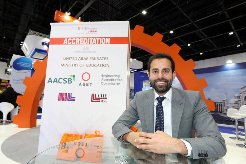 Dubai, United Arab Emirates - April 17, 2019: Saleh Yammout, Vice President for finance and administration at RTA University Dubai during day one of GETEX. Wednesday the 17th of April 2019. World Trade Centre, Dubai. Chris Whiteoak / The National