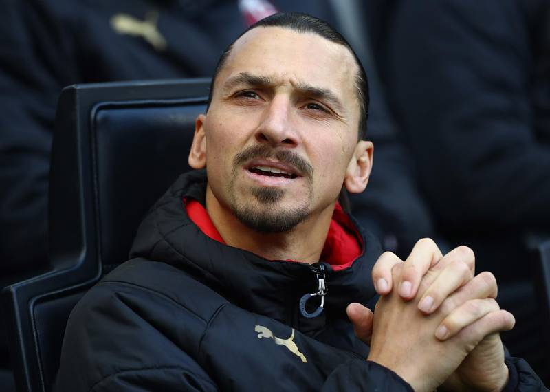 MILAN, ITALY - JANUARY 06:  Zlatan Ibrahimovic of AC Milan looks on before the Serie A match between AC Milan and UC Sampdoria at Stadio Giuseppe Meazza on January 6, 2020 in Milan, Italy.  (Photo by Marco Luzzani/Getty Images)