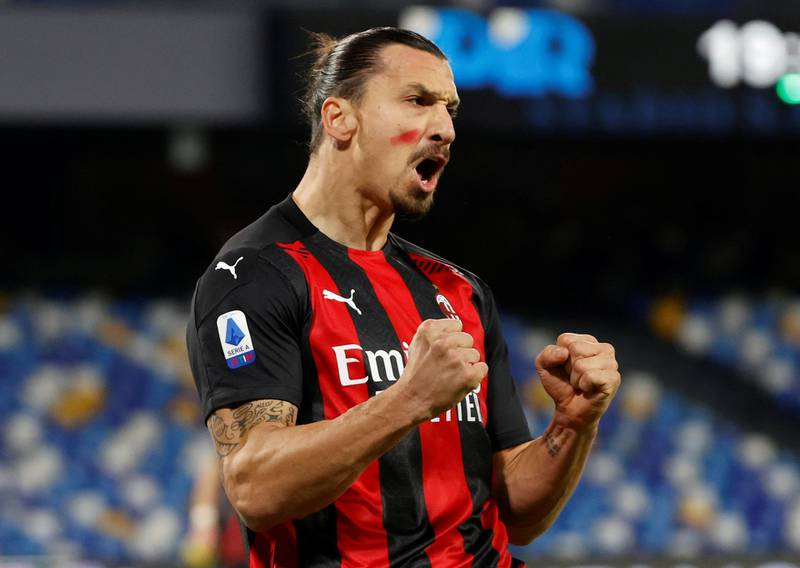 Soccer Football - Serie A - Napoli v AC Milan - Stadio San Paolo, Naples, Italy - November 22, 2020  AC Milan's Zlatan Ibrahimovic celebrates scoring their first goal while wearing red face paint to raise awareness of domestic violence against women REUTERS/Ciro De Luca     TPX IMAGES OF THE DAY