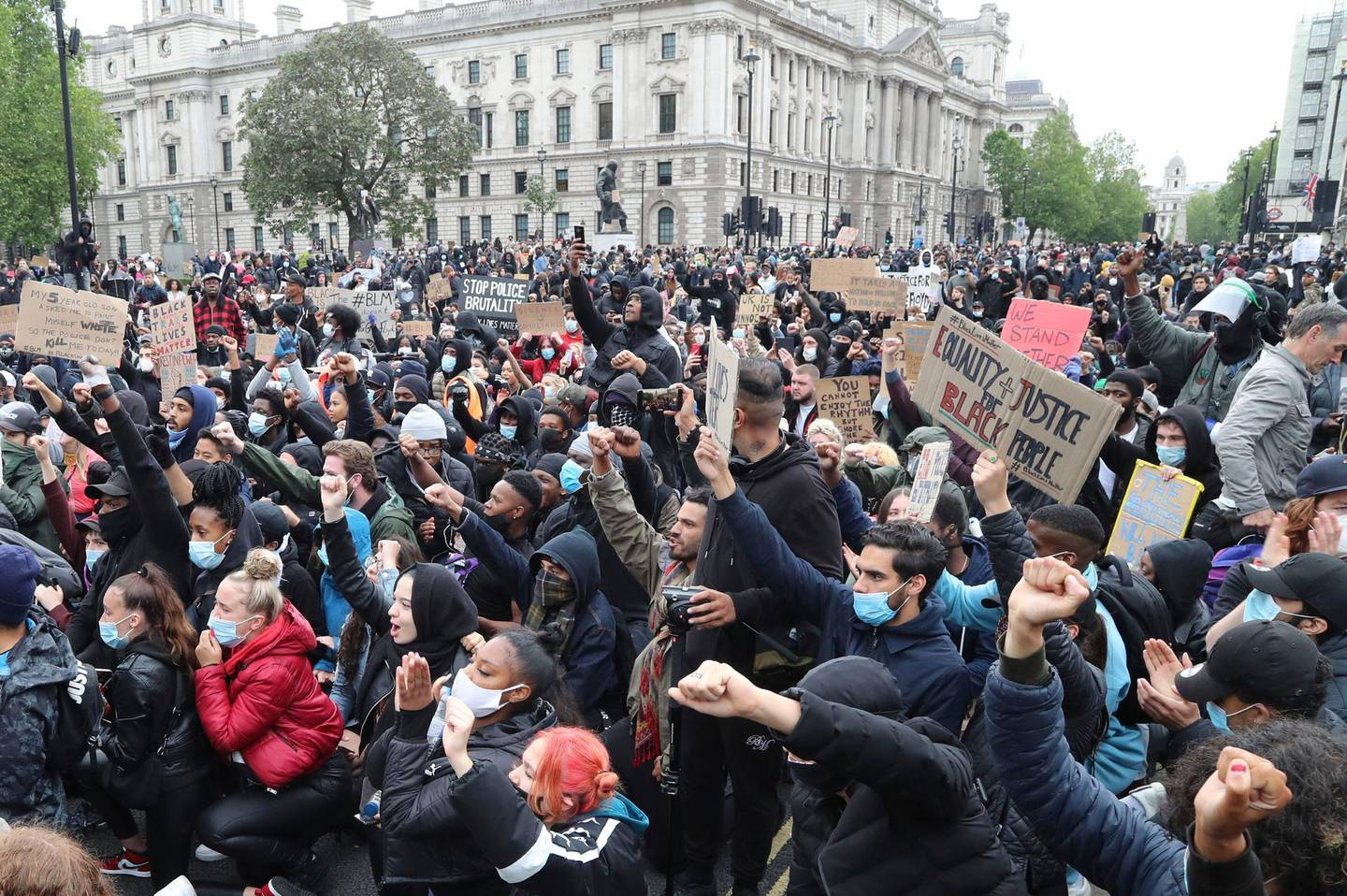 Protesters gather in Parliament Square during the Black Lives Matter protest rally in Whitehall, London, in memory of George Floyd who was killed on May 25 while in police custody in the US city of Minneapolis. (Gareth Fuller/PA via AP)
