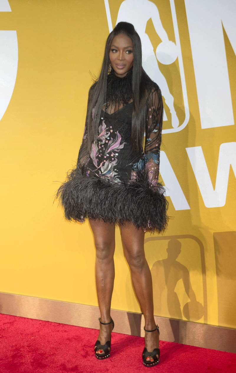 Naomi Campbell arrives to the NBA Awards at Basketball City on June 26, 2017 in New York. (Photo by Bryan R. Smith / AFP)