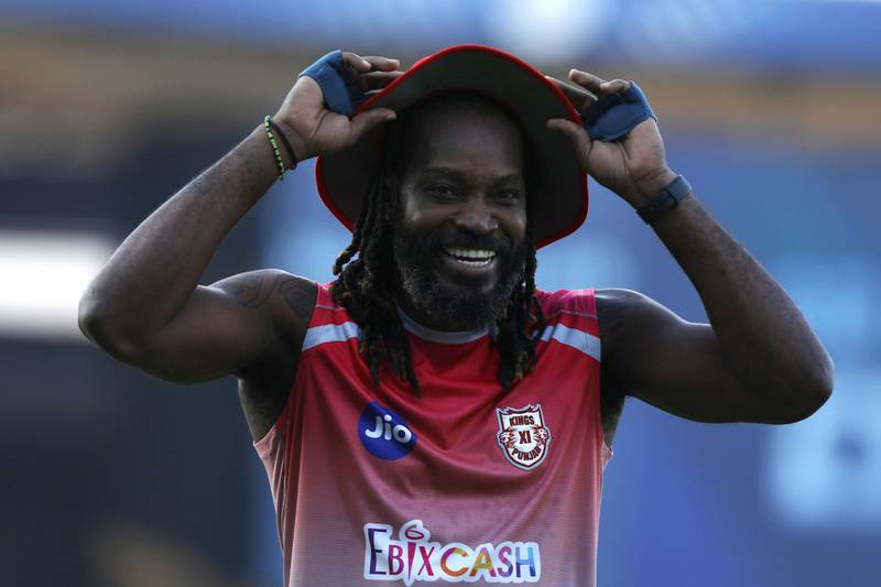 Chris Gayle of Kings XI Punjab during match 9 of season 13 of the Indian Premier League (IPL) between Rajasthan Royals and Kings XI Punjab held at the Sharjah Cricket Stadium, Sharjah in the United Arab Emirates on the 27th September 2020.  Photo by: Arjun Singh  / Sportzpics for BCCI