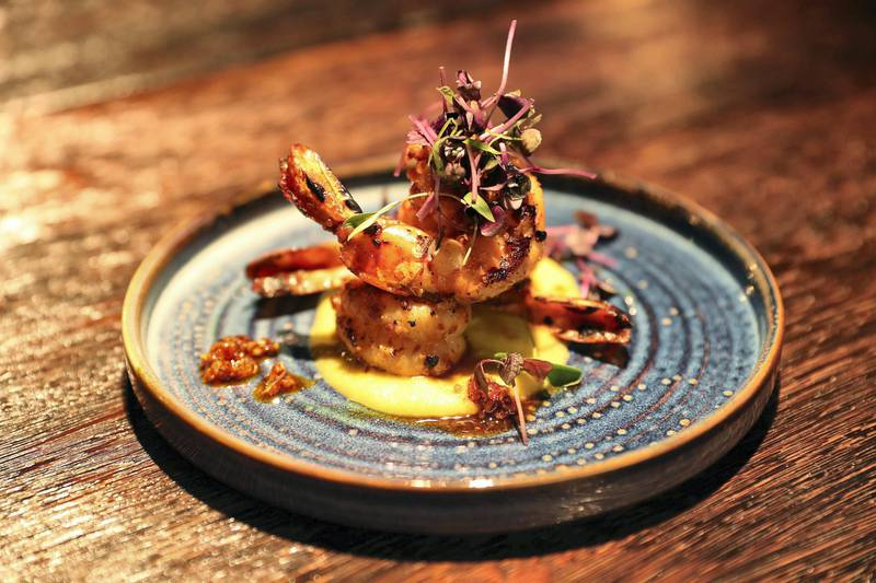 DUBAI, UNITED ARAB EMIRATES , September 27 – 2020 :-  Grilled prawns dish at the Brass Monkey, new dining and entertainment destination on the Bluewaters Island in Dubai.  (Pawan Singh / The National) For Lifestyle/Online/Instagram. Story by Janice Rodrigues