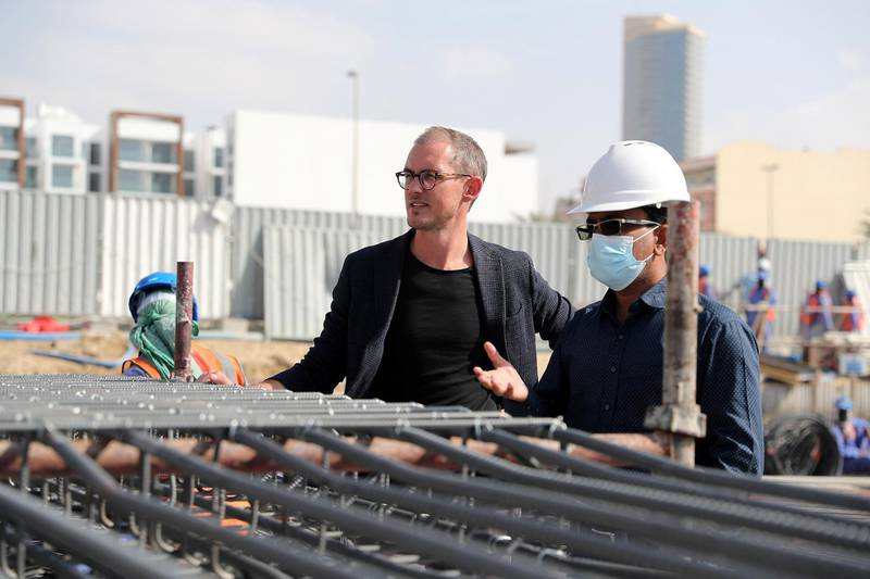DUBAI, UNITED ARAB EMIRATES , Jan 31 – Bass Ackermann, owner at the site of co-living apartment block at the Jumeirah Village Circle in Dubai. (Pawan Singh / The National) For News/Online. Story by Georgia Tolley
