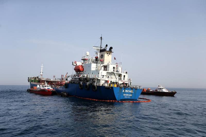 A. Michel UAE tanker is seen off the Port of Fujairah, United Arab Emirates, May 13, 2019. REUTERS/Satish Kumar