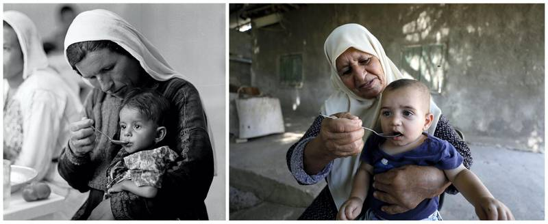 """A combination picture shows a Palestinian woman feeding a child at UNRWA's rehydration/nutrition centre in Ein El Sultan camp in Jericho in the Israeli-occupied West Bank in this handout picture believed to be taken in 1960s. UNRWA/Handout via REUTERS (L) and a Palestinian woman feeding a child at Ein El Sultan camp in Jericho in the Israeli-occupied West Bank, September 17, 2019. REUTERS/Mohamad Torokman ATTENTION EDITORS - THIS IMAGE WAS PROVIDED BY A THIRD PARTY. NO RESALES. NO ARCHIVES SEARCH """"UNRWA COMBOS"""" FOR THIS STORY. SEARCH """"WIDER IMAGE"""" FOR ALL STORIES."""
