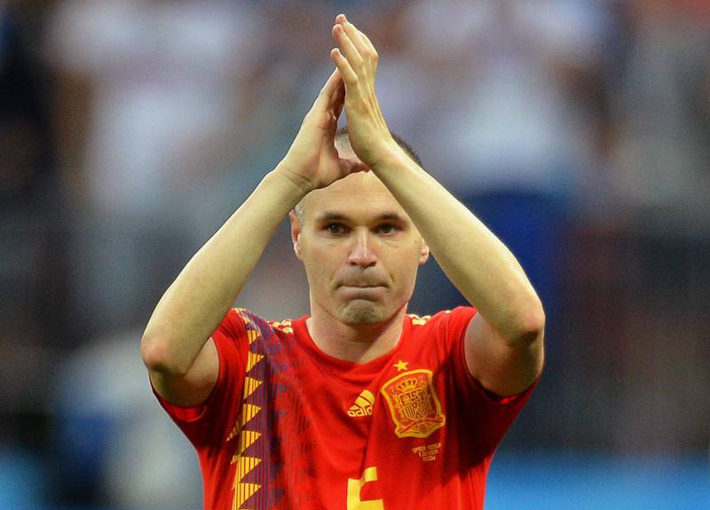 epaselect epa06855853 Andres Iniesta of Spain applauds fans after the penalty shootout of the FIFA World Cup 2018 round of 16 soccer match between Spain and Russia in Moscow, Russia, 01 July 2018. Russia won 4-3 on penalties.  (RESTRICTIONS APPLY: Editorial Use Only, not used in association with any commercial entity - Images must not be used in any form of alert service or push service of any kind including via mobile alert services, downloads to mobile devices or MMS messaging - Images must appear as still images and must not emulate match action video footage - No alteration is made to, and no text or image is superimposed over, any published image which: (a) intentionally obscures or removes a sponsor identification image; or (b) adds or overlays the commercial identification of any third party which is not officially associated with the FIFA World Cup)  EPA/PETER POWELL   EDITORIAL USE ONLY