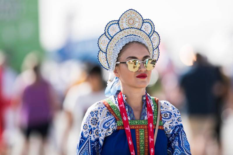 DUBAI, UNITED ARAB EMIRATES - DECEMBER 1, 2018.   A delegate in her traditional costume on the final day of this year's Dubai Rugby Sevens.  (Photo by Reem Mohammed/The National)  Reporter:  Section:  NA  SP