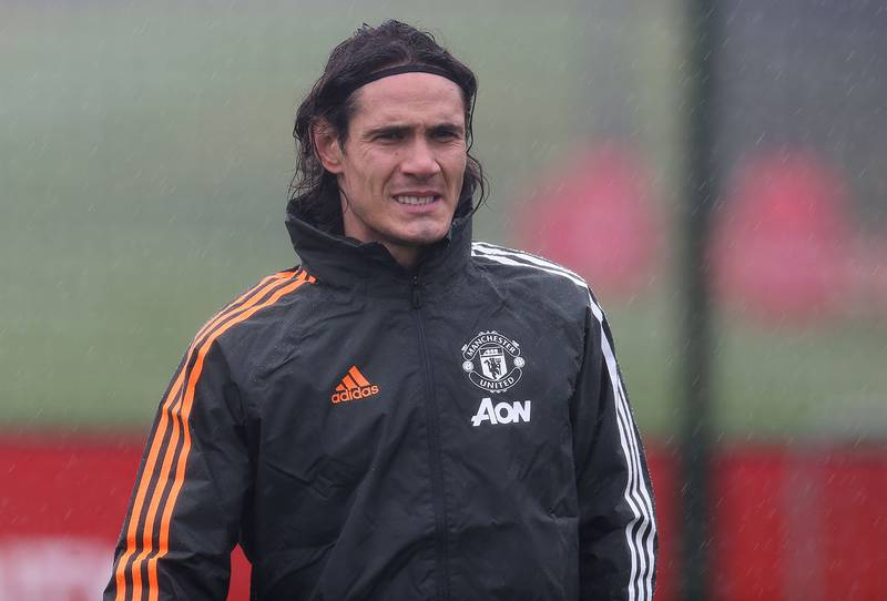 MANCHESTER, ENGLAND - OCTOBER 27: Edinson Cavani of Manchester United in action during a first team training session ahead of the UEFA Champions League Group H stage match between Manchester United and RB Leipzig at Aon Training Complex on October 27, 2020 in Manchester, England. (Photo by Matthew Peters/Manchester United via Getty Images)