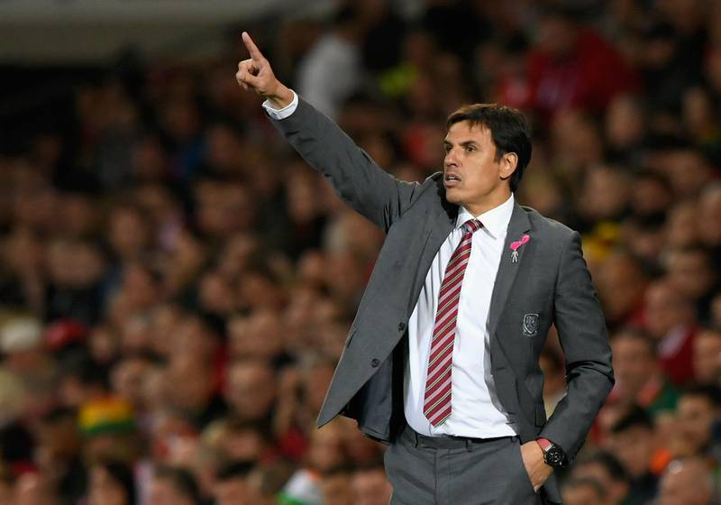CARDIFF, UNITED KINGDOM - OCTOBER 09:  Chris Coleman, Manager of Wales points during the FIFA 2018 World Cup Group D  Qualifier between Wales and Republic of Ireland at the Cardiff City Stadium on October 9, 2017 in Cardiff, Wales.  (Photo by Stu Forster/Getty Images)