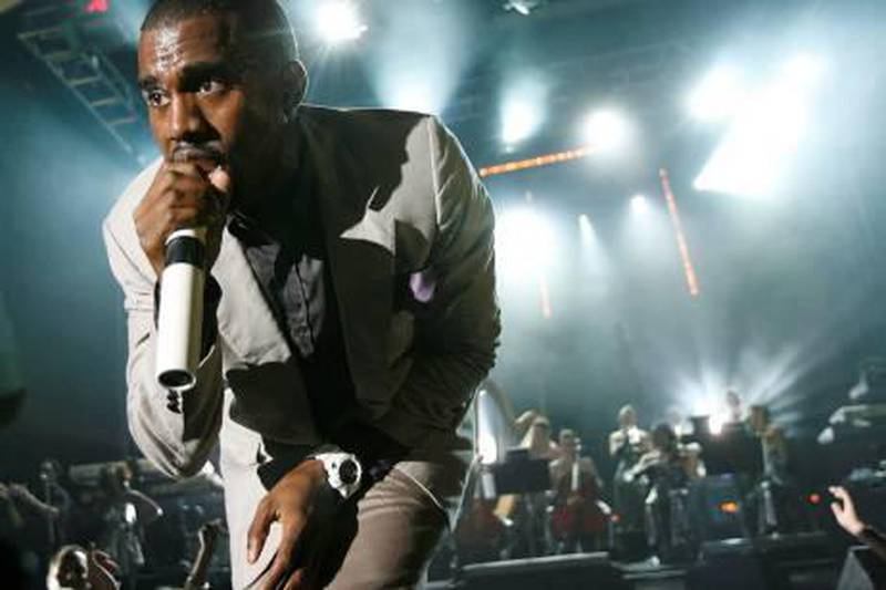Kanye West performs during Rolling Stone magazine's 40th anniversary VIP party at the Hard Rock Hotel & Casino in Las Vegas on Sunday, Sept. 9, 2007. (AP Photo/Matt Sayles)