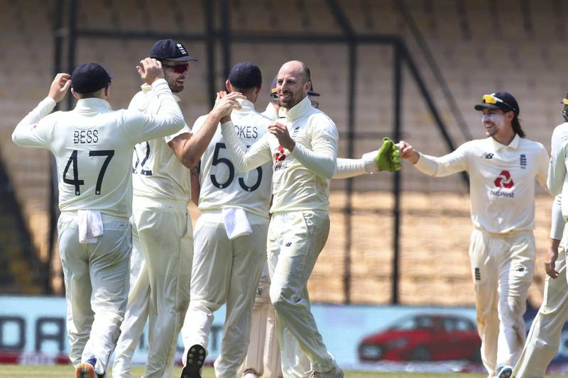Matthew Jack Leach of England  celebrates the wicket of Ravichandran Ashwin of India during day five of the first test match between India and England held at the Chidambaram Stadium in Chennai, Tamil Nadu, India on the 9th February 2021  Photo by Pankaj Nangia/ Sportzpics for BCCI