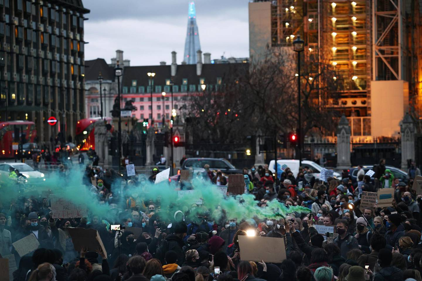 Demonstrators protest at Parliament Square, following the kidnap and murder of Sarah Everard, in London, Britain, March 16, 2021. REUTERS/Henry Nicholls
