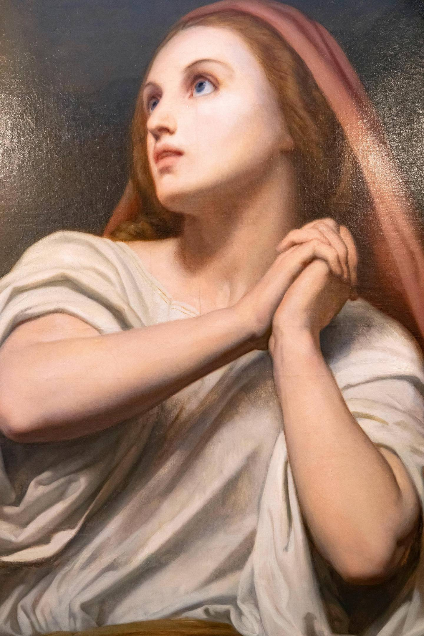 Abu Dhabi, United Arab Emirates - July 18, 2019: Presentation of the Masterpiece Mary Magdalene in Ecstasy, painted by Ary Scheffer, to Dr Hamed Bin Mohamed Khalifa Al Suwaidi, Chairman of Abu Dhabi Arts Society by Alan Lubin, President Emeritus of Five Islands Capital Limited of London, as a Loan in Perpetuity to the Emirate of Abu Dhabi, on behalf of the Lubin Family Art Collection Privé. Thursday the 18th of July 2019. British Embassy, Abu Dhabi. Chris Whiteoak / The National