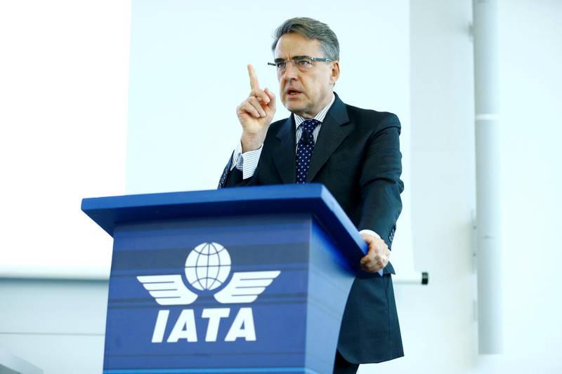 FILE PHOTO: International Air Transport Association (IATA) Director General and CEO Alexandre de Juniac speaks during the Global Media Day in Geneva, Switzerland December 5, 2017. REUTERS/Pierre Albouy/File Photo