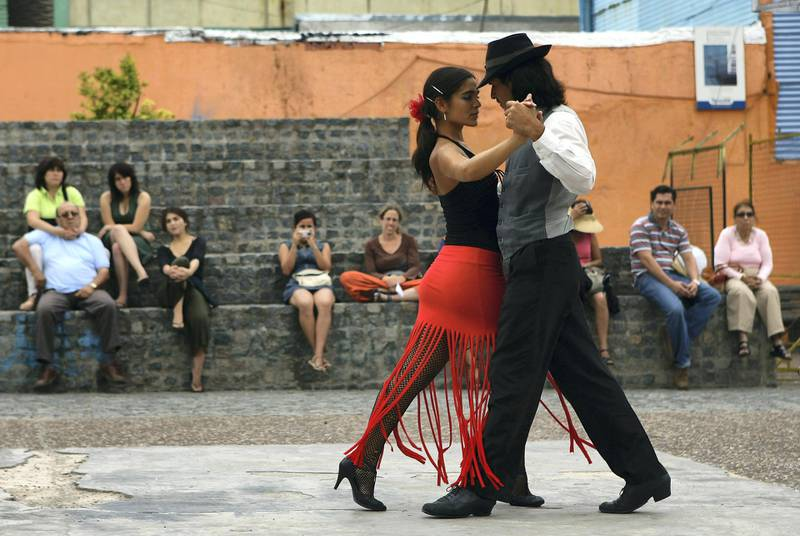 BUENOS AIRES, ARGENTINA - FEBRUARY 11:  A couple dance to tango music, Tango was born in the suburbs of Buenos Aires on February 11, 2008 in Buenos Aires, Argentina.  (Photo by Julian Finney/Getty Images)