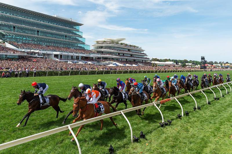 epa07973357 Jockey Craig Williams (3-L) rides Vow and Declare to victory in race seven, the Lexus Melbourne Cup, during Melbourne Cup Day at Flemington Racecourse in Melbourne, Australia, 05 November 2019.  EPA/ALBERT PEREZ   EDITORIAL USE ONLY