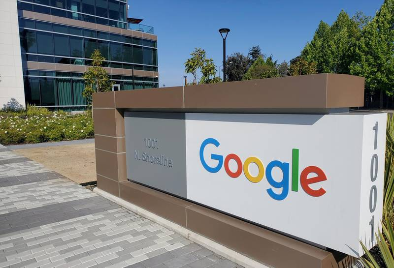 FILE PHOTO: A sign is pictured outs a Google office near the company's headquarters in Mountain View, California, U.S., May 8, 2019.  REUTERS/Paresh Dave//File Photo