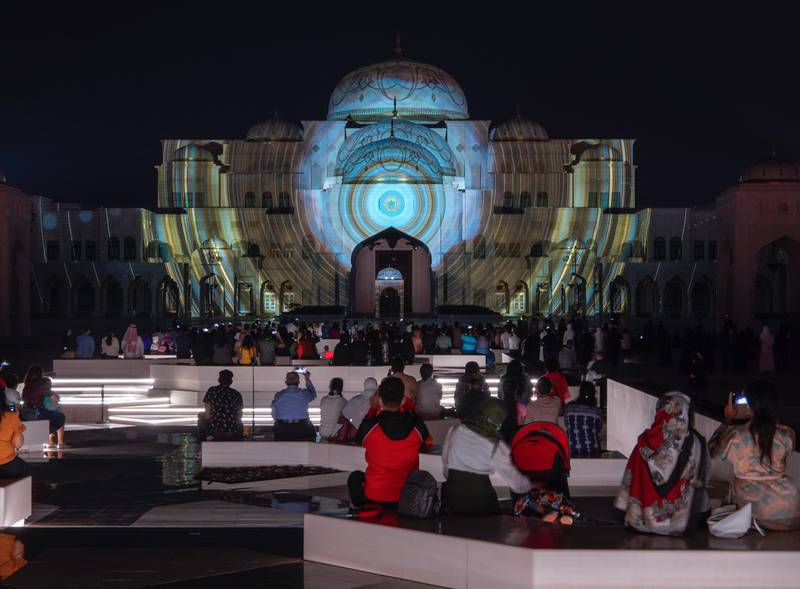 Abu Dhabi, United Arab Emirates, December, 1, 2020.  The 49th UAE National Day celebrations at Qasr Al Watan.  Projector show, Palace in Motion, Colors of the UAE.Victor Besa/The NationalSection:  National News