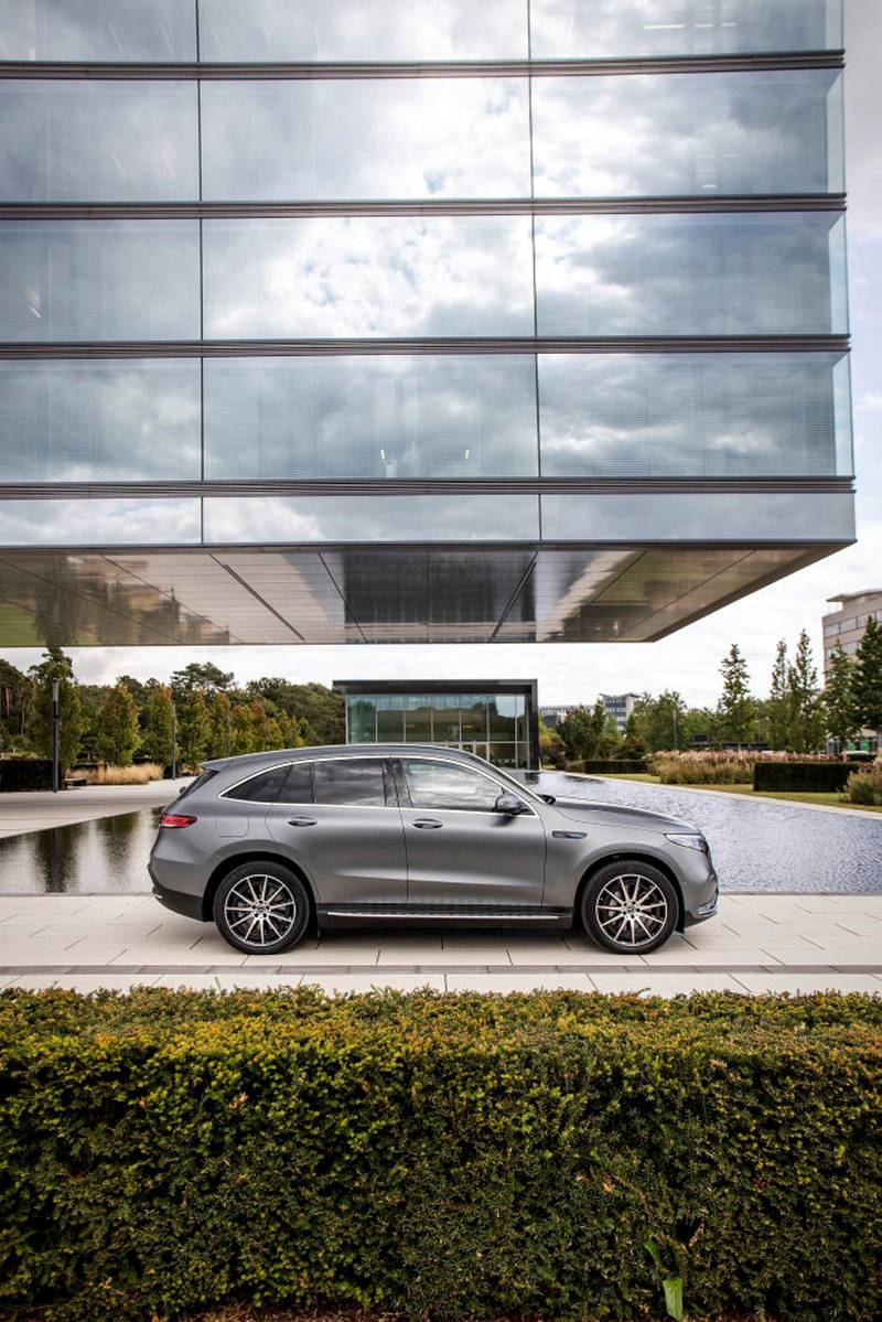 Mercedes-Benz EQC 400 4MATIC; designo selenitgrau magno; AMG Line; Ledernachbildung ARTICO; Mikrofaser DINAMICA schwarz;Stromverbrauch kombiniert: 20,8 – 19,7 kWh/100 km; CO2-Emissionen kombiniert: 0 g/km*Mercedes-Benz EQC 400 4MATIC; designo selenite grey magno; AMG Line; ARTICO man-made leather / DINAMICA microfiber black;ombined electric energy consumption: 20.8 - 19.7 kWh/100 km; combined CO2 emissions: 0 g/km*