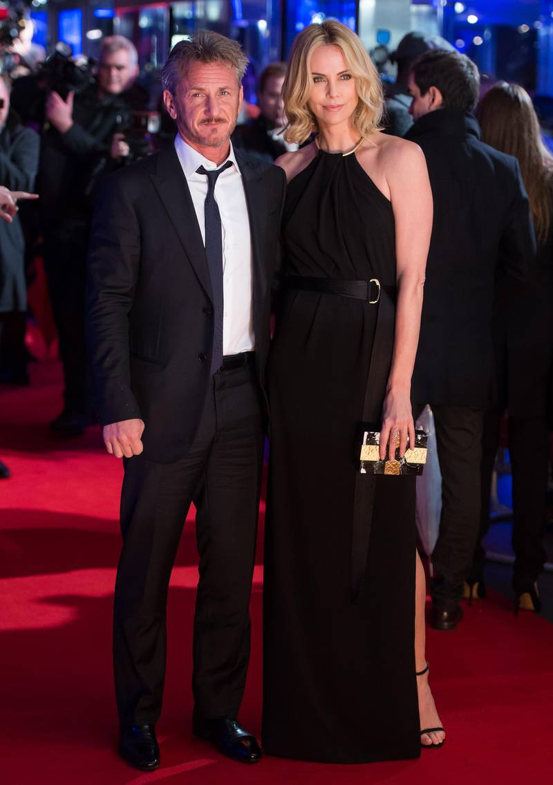 """LONDON, ENGLAND - FEBRUARY 16:  Sean Penn and Charlize Theron attend the World Premiere of """"The Gunman"""" at BFI Southbank on February 16, 2015 in London, England.  (Photo by Ian Gavan/Getty Images)"""