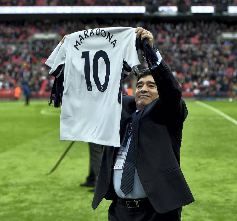 LONDON, ENGLAND - OCTOBER 22:  (THE SUN OUT, THE SUN ON SUNDAY OUT) Diego Maradona legend of football during the Premier League match between Tottenham Hotspur and Liverpool at Wembley Stadium on October 22, 2017 in London, England.  (Photo by John Powell/Liverpool FC via Getty Images)