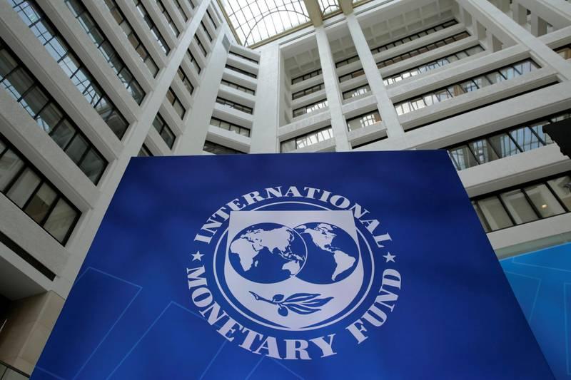 FILE PHOTO: FILE PHOTO: The International Monetary Fund logo is seen during the IMF/World Bank spring meetings in Washington, U.S., April 21, 2017. REUTERS/Yuri Gripas/File Photo