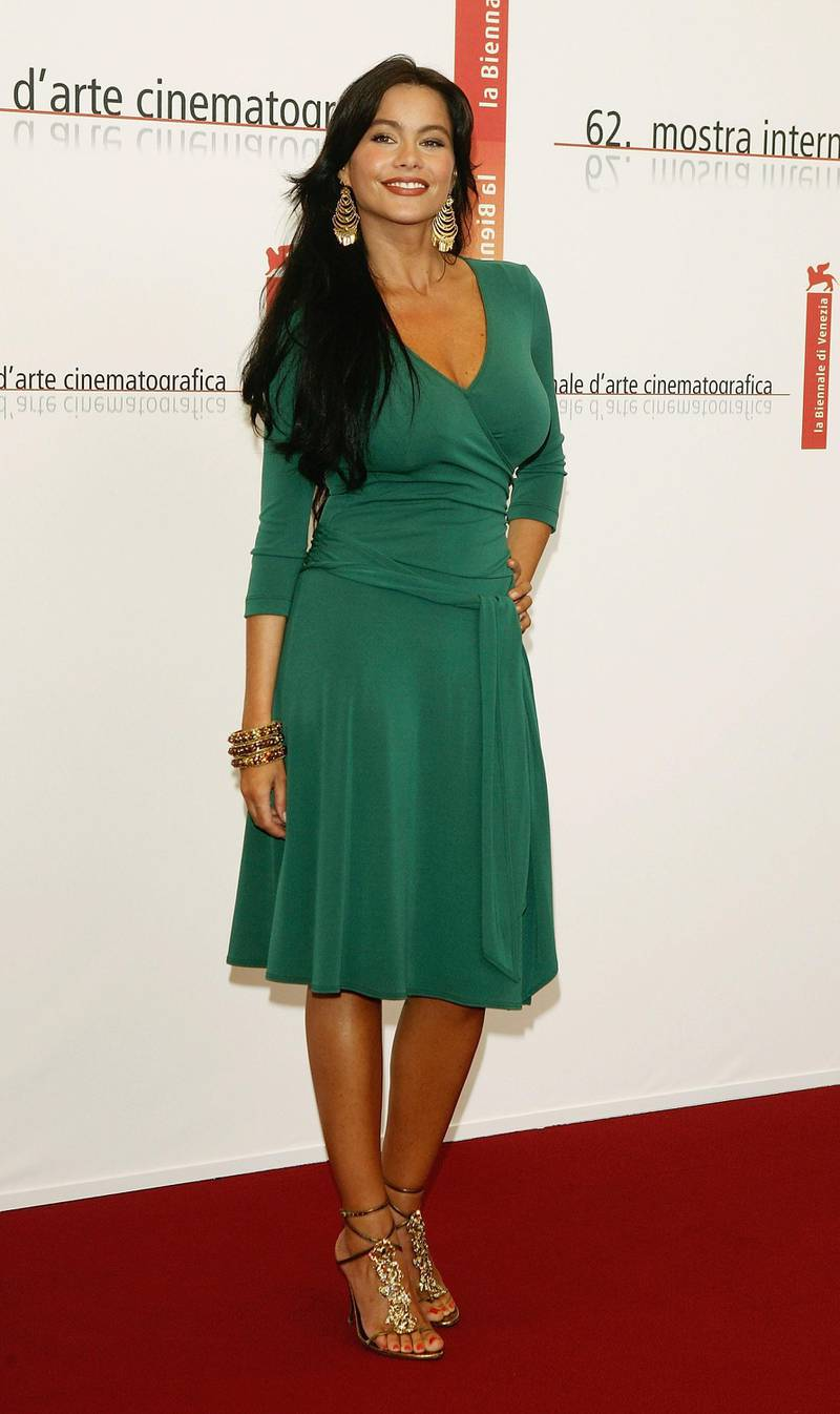 """VENICE, ITALY - SEPTEMBER 3:  Actress Sofia Vergara poses at the photocall for the out of competition film """"Four Brothers"""" at the Palazzo del Casino as part of the 62nd Venice Film Festival on September 3, 2005 in Venice, Italy. (Photo by Pascal Le Segretain/Getty Images)"""