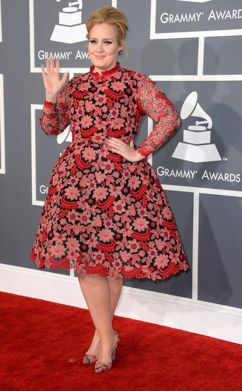 epa03578324 British singer Adele arrives for the 55th Annual Grammy Awards in Los Angeles, California, USA, 10 February 2013.  EPA/MIKE NELSON