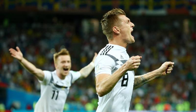 Soccer Football - World Cup - Group F - Germany vs Sweden - Fisht Stadium, Sochi, Russia - June 23, 2018   Germany's Toni Kroos celebrates scoring their second goal    REUTERS/Michael Dalder