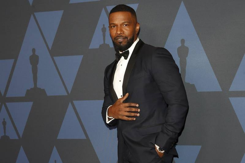 epa07955294 US actor Jamie Foxx poses on the red carpet prior the 11th Annual Governors Awards at the Dolby Theater in Hollywood, California, USA, 27 October 2019.  EPA-EFE/NINA PROMMER