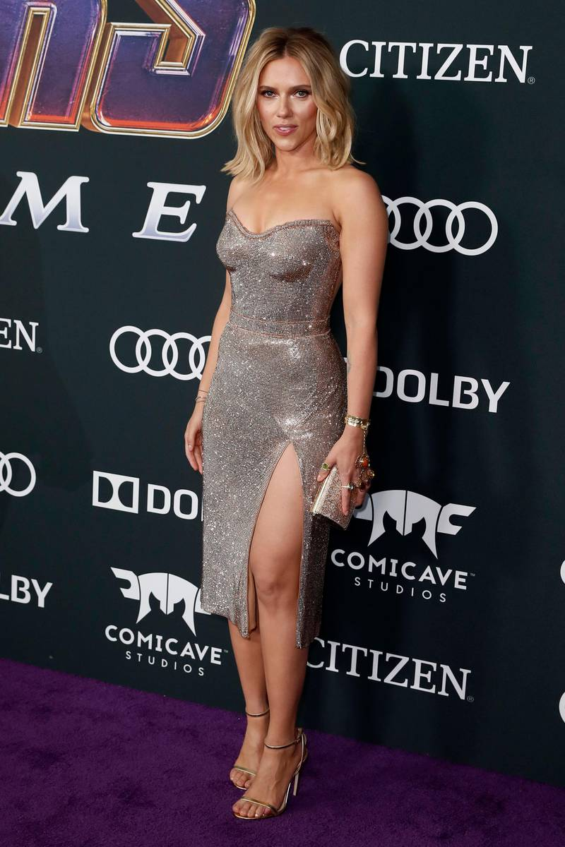 epa07522149 US actress Scarlett Johansson poses for photographers upon her arrival for the premiere of 'Avengers: Endgame' at the LA Convention Center in Los Angeles, California, USA, 22 April 2019. Crystal Mesh Dress by Atelier Versace Swarovski. 'Avengers: Endgame' will be released US theaters on 26 April.  EPA-EFE/ETIENNE LAURENT