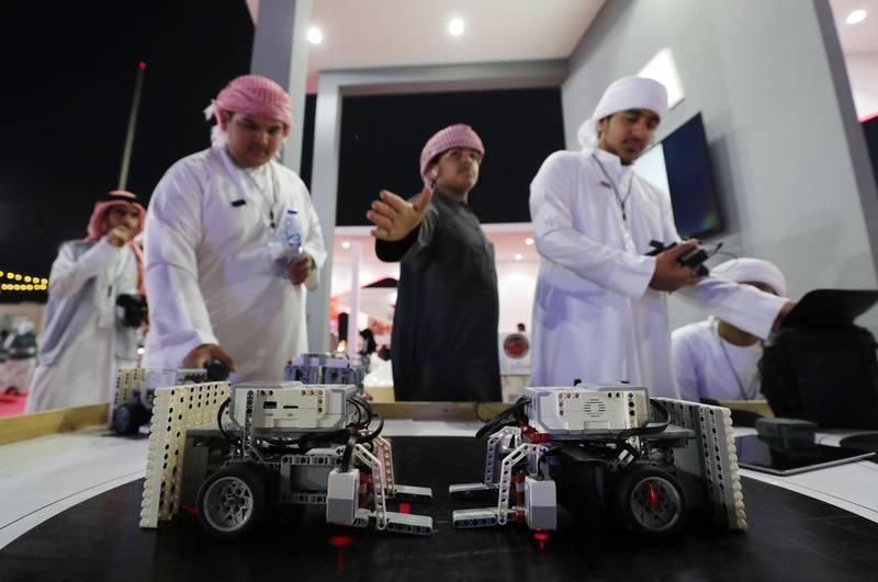 Ras Al Khaimah, United Arab Emirates - Reporter: Ruba Haza: Students show off their sumo robots at UAE innovates, Ras Al Khaimah. Wednesday, February 19th, 2020. Ras Al Khaimah. Chris Whiteoak / The National