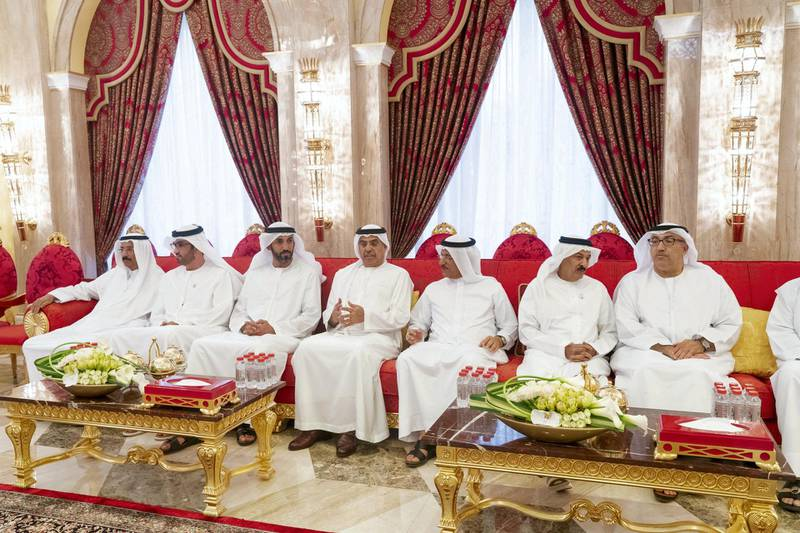 DUBAI, UNITED ARAB EMIRATES - May 19, 2019: HE Mohamed Al Murr, former Speaker of the UAE Federal National Council (FNC), HE Dr Sultan Ahmed Al Jaber, UAE Minister of State, Chairman of Masdar and CEO of ADNOC Group, HE Mohamed Mubarak Al Mazrouei, Undersecretary of the Crown Prince Court of Abu Dhabi, HE Obaid Humaid Al Tayer, UAE Minister of State for Financial Affairs and HE Sultan bin Saeed Al Mansouri, UAE Minister of Economy, attend an iftar reception hosted by HH Sheikh Mohamed bin Rashid Al Maktoum, Vice-President, Prime Minister of the UAE, Ruler of Dubai and Minister of Defence (not shown), at Zabeel Palace.   ( Mohamed Al Hammadi / Ministry of Presidential Affairs ) ---